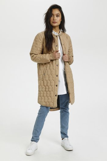 SHALLY QUILTED COAT - Abrigo de invierno - beige, dark brown