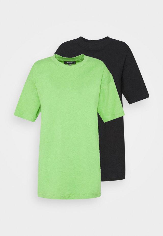 DROP SHOULDER OVERSIZED WASHED 2 PACK - T-shirt basique - black/lime