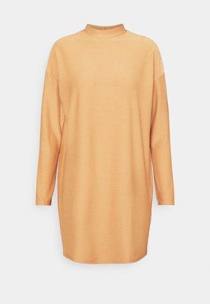 SPOT TEXTURE HIGH NECK DRESS - Day dress - camel