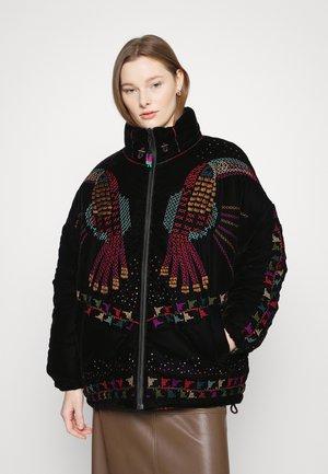 BLACK EMBROIDERED PUFFER JACKET - Winter jacket - black
