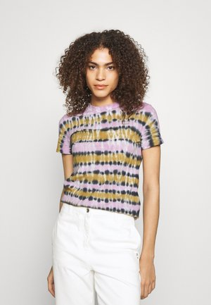 TIE DYE - T-shirt print - olive/lavendar/black