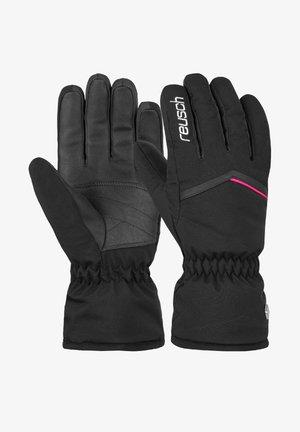 Gloves - black white pink glo