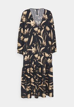 V-NECK DRESS WITH PLEATED SLEEVE GATHERED SKIRT - Day dress - botanical black
