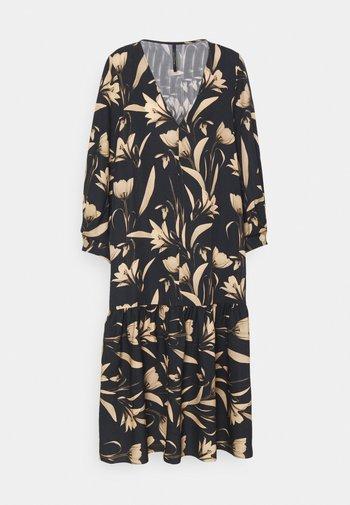 V-NECK DRESS WITH PLEATED SLEEVE GATHERED SKIRT - Denní šaty - botanical black