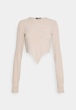 TIE FRONT BALLOON SLEEVE - Long sleeved top - beige