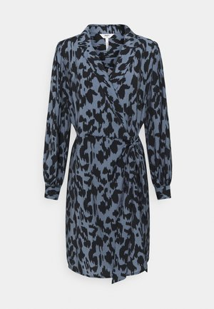 OBJMARCELA SHORT WRAP DRESS - Day dress - blue mirage/black