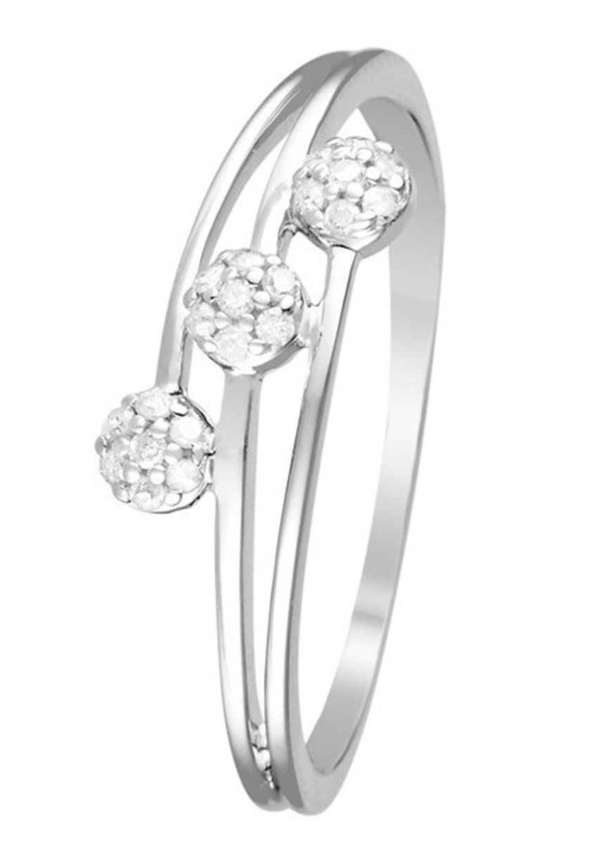 Mujer WHITE GOLD RING 9K CERTIFIED 21 DIAMONDS HP1 0.08 CT - Anillo