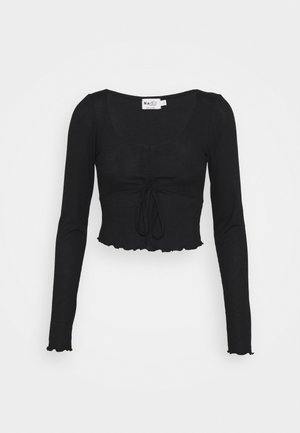DRAWSTRING DETAIL LONG SLEEVE - Long sleeved top - black