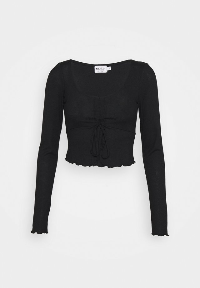 DRAWSTRING DETAIL LONG SLEEVE - Langærmede T-shirts - black