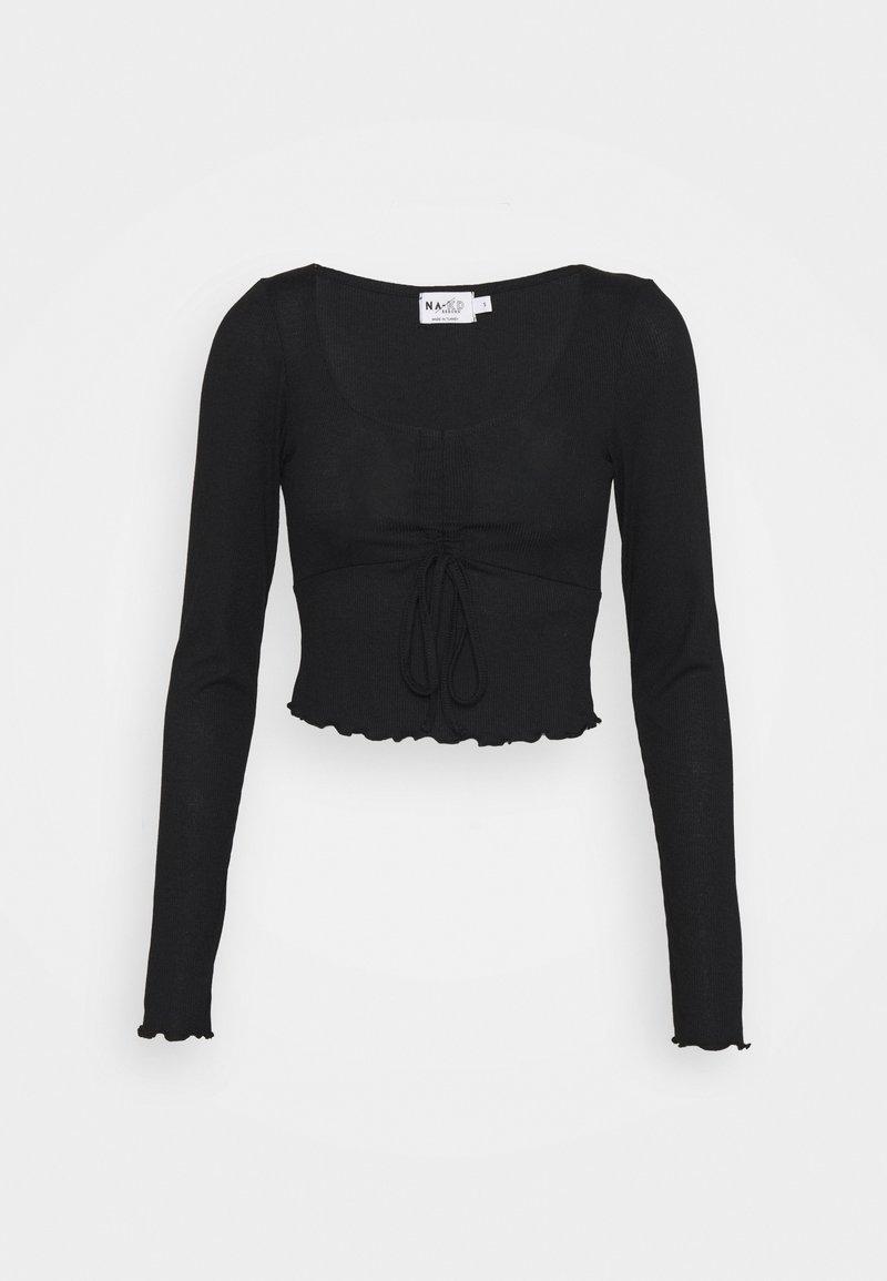 NA-KD - DRAWSTRING DETAIL LONG SLEEVE - Langærmede T-shirts - black