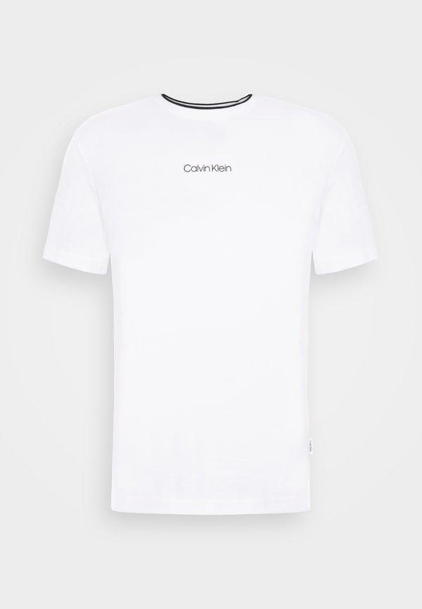 Calvin Klein CENTER LOGO - T-shirt z nadrukiem - bright white/biały Odzież Męska LOUC