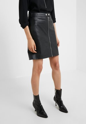 LATESSA - Leather skirt - black