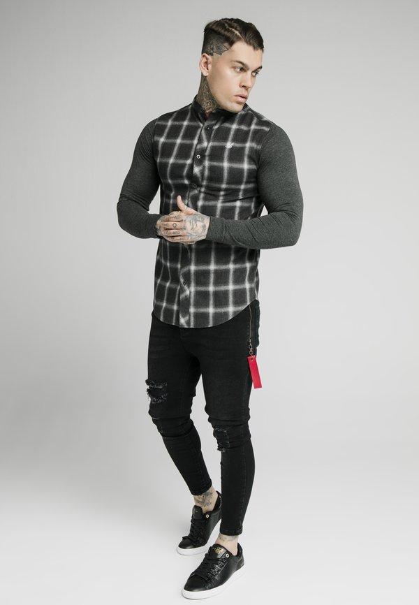 SIKSILK CHECK GRANDAD - Koszula - charcoal/szary Odzież Męska BZPN