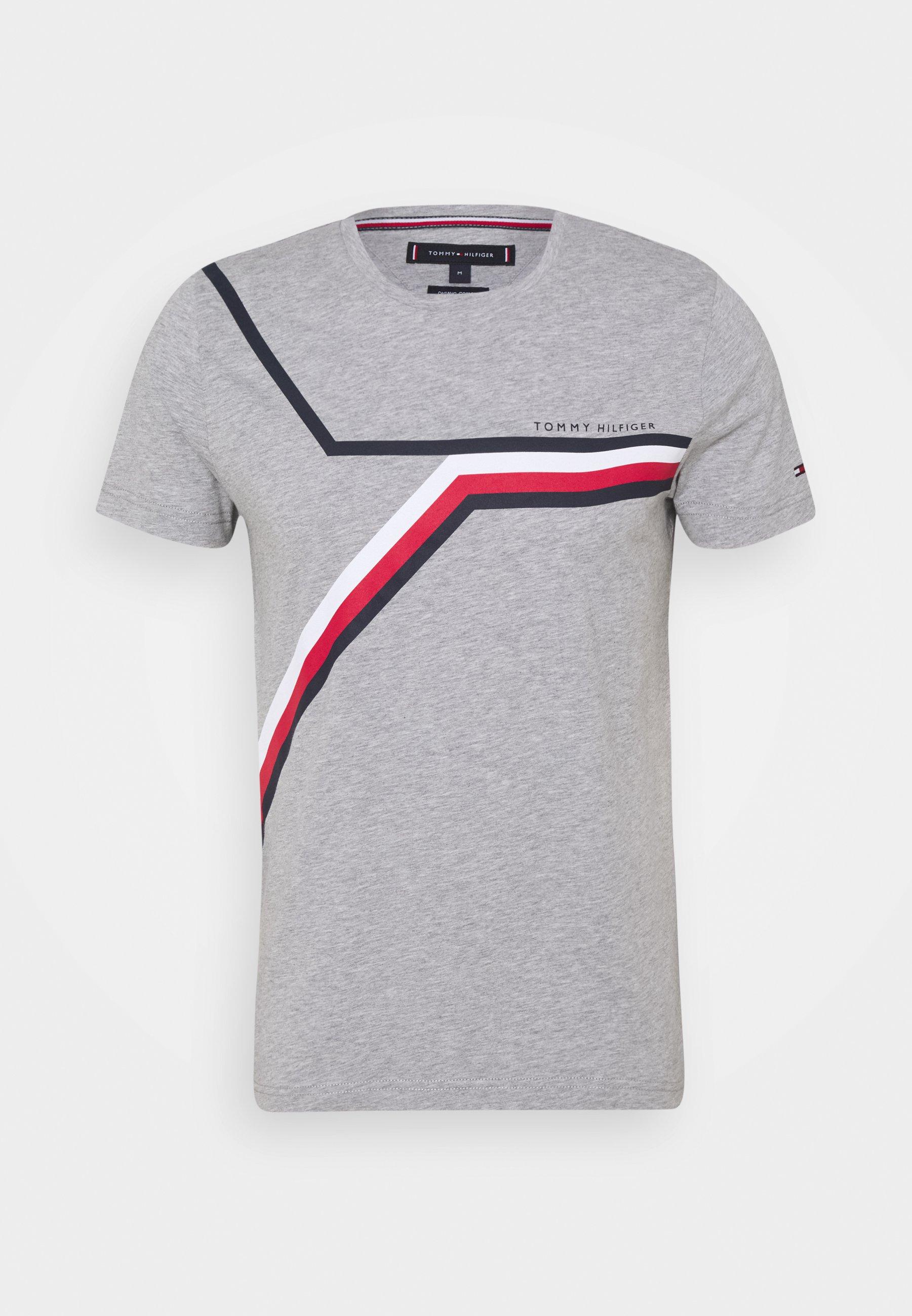 Men SPLIT CHEST STRIPE TEE - Print T-shirt