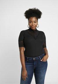 ONLY Carmakoma - HIGHNECK - Print T-shirt - black - 0