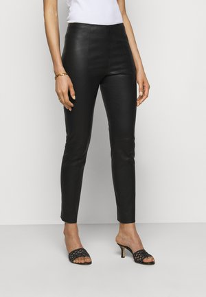 CLASSIC TROUSERS - Leather trousers - black