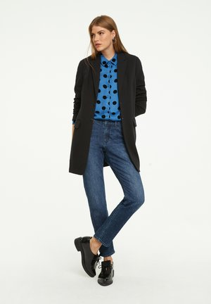 Button-down blouse - moonlight blue big dot