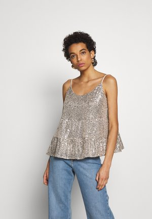 TIERED SEQUIN CAMI - Bluse - silver