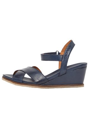 SANDALEN LEDER - Wedge sandals - navyblue