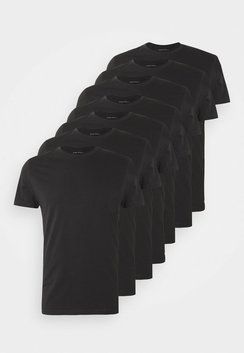 Pier One - 7 PACK - T-shirts basic - black