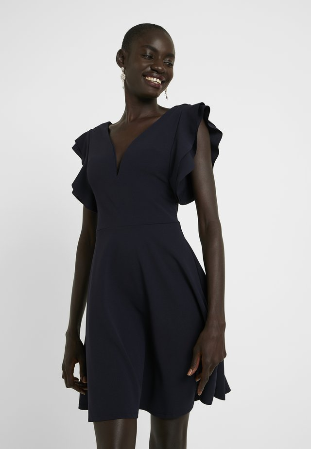 V NECK FRILL SLEEVE DRESS - Vestito elegante - navy