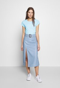 Abercrombie & Fitch - LONG LIFE LOGO  - Print T-shirt - light blue - 1