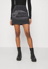 NU-IN - LASER PRINT MINI SKIRT - Mini skirt - black - 0
