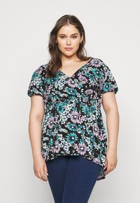 Simply Be - PRINTED PUFF SLEEVE TUNIC - T-shirt med print - black - 0