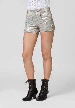 BACCARA - Leather trousers - starlight silver