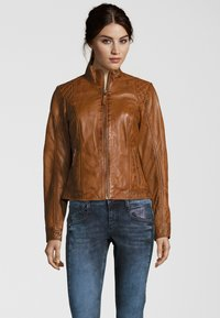 7eleven - Leather jacket - cognac - 0