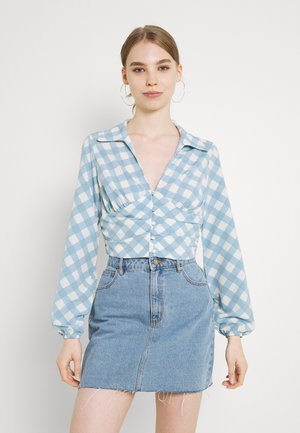 OPEN COLLAR PUFF SLEEVE RUCHED CROP BLOUSE - Blouse - blue