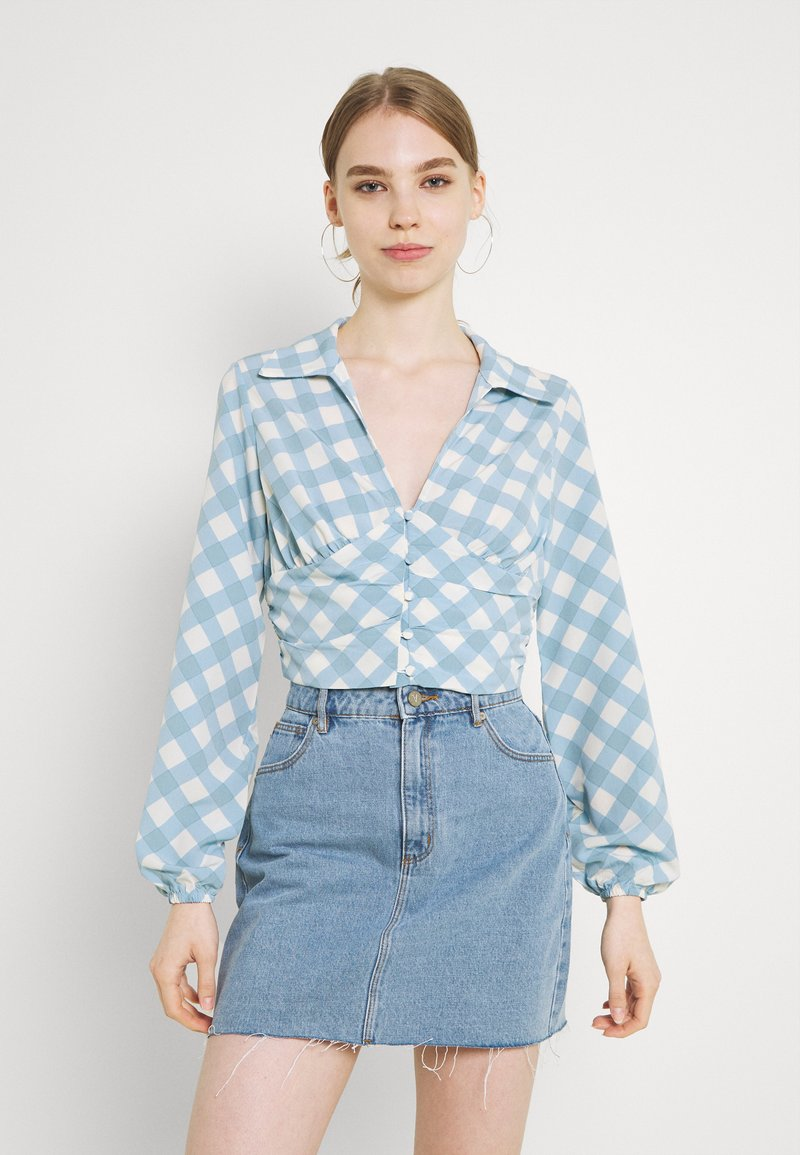 Glamorous - OPEN COLLAR PUFF SLEEVE RUCHED CROP BLOUSE - Bluser - blue