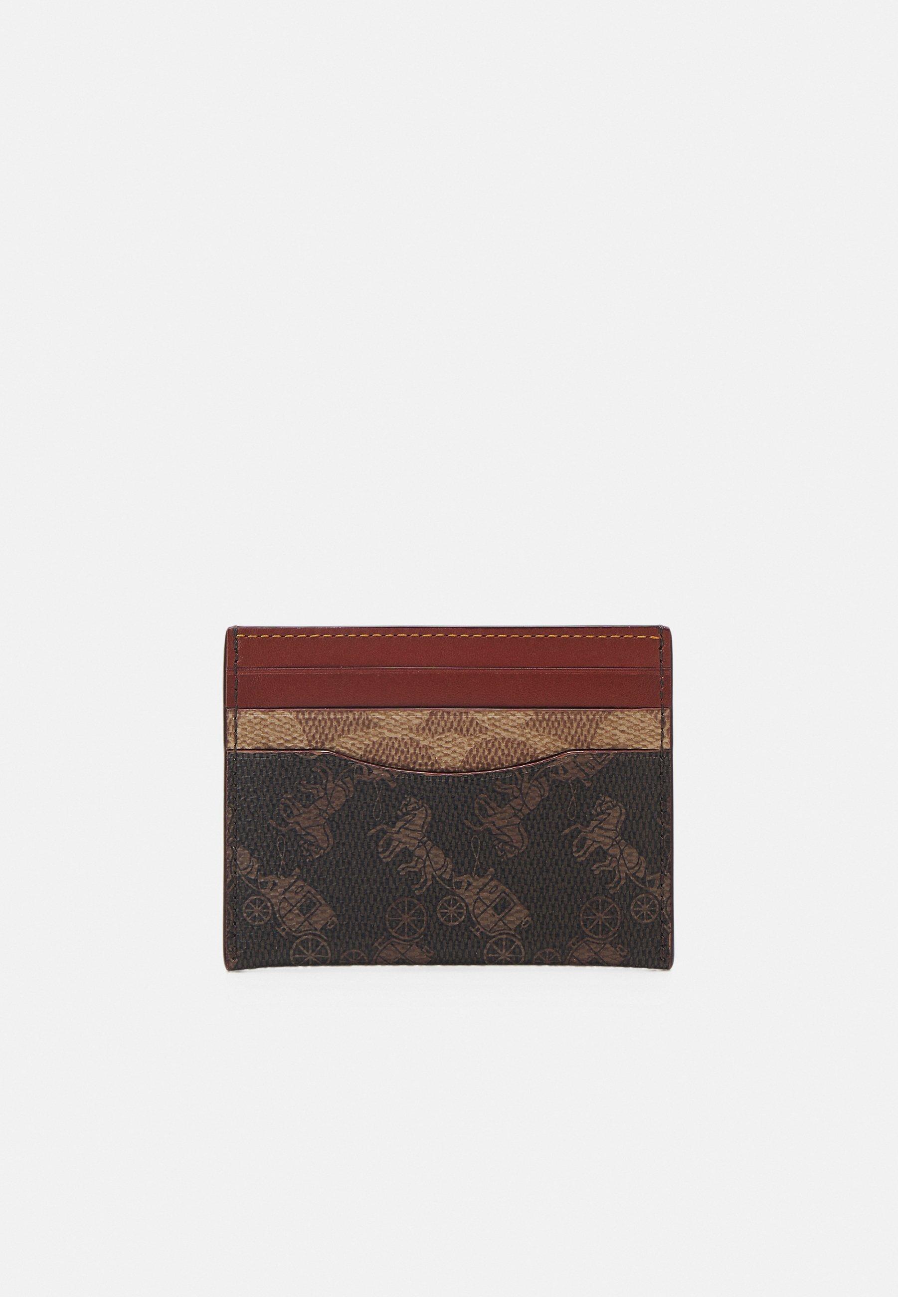 Coach SIGNATURE CARRIAGE FLAT CARD CASE - Geldbörse - tan truffle
