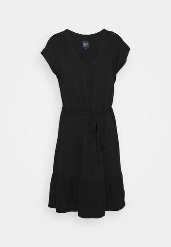 TIERED - Jersey dress - true black