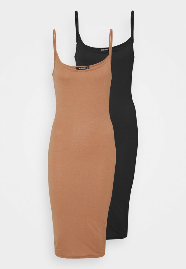 BASIC CAMI MIDI DRESS 2 PACK  - Sukienka z dżerseju - black/camel