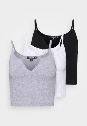 NOTCH NECK CAMI CROP 3 PACK - Toppe - white/black/grey