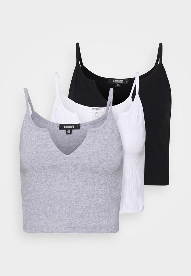NOTCH NECK CAMI CROP 3 PACK - Débardeur - white/black/grey