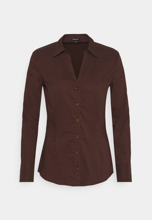 BLOUSE SLEEVE - Button-down blouse - chocolate
