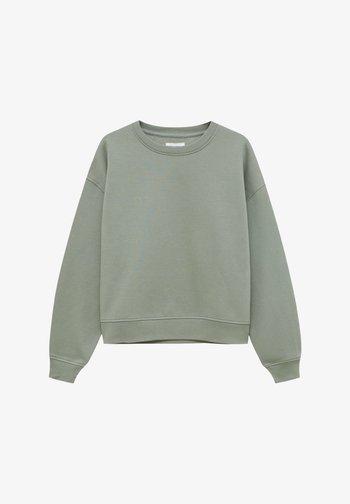 MIT RUNDAUSSCHNITT - Sweatshirt - mottled dark green