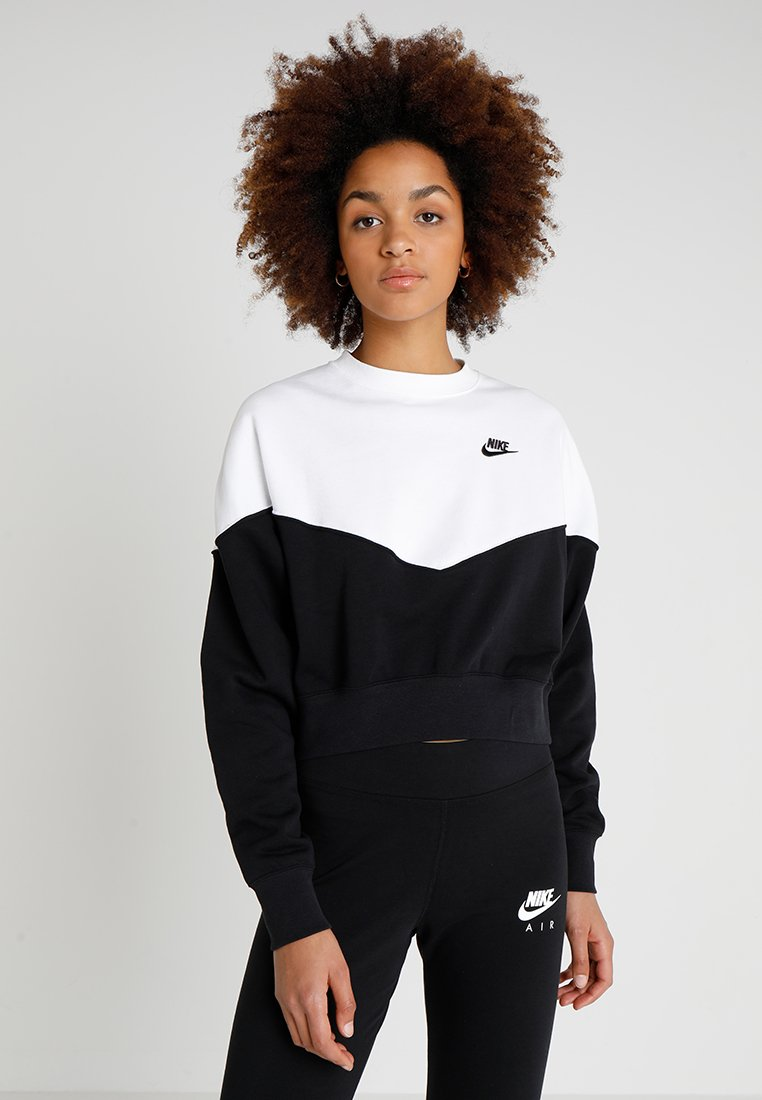 Nike Sportswear - W NSW HRTG CREW FLC - Mikina - black/white/black