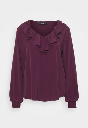 RUFFLE TIE NECK - Long sleeved top - berry