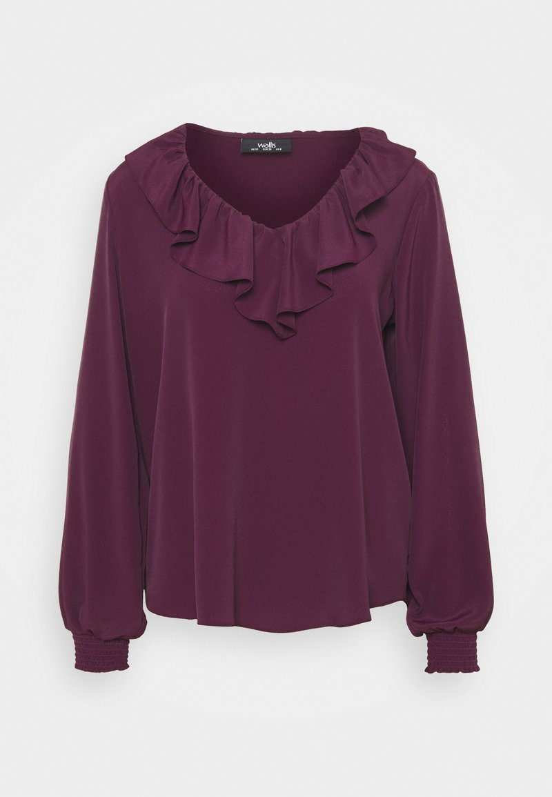 Wallis - RUFFLE TIE NECK - Blouse - berry