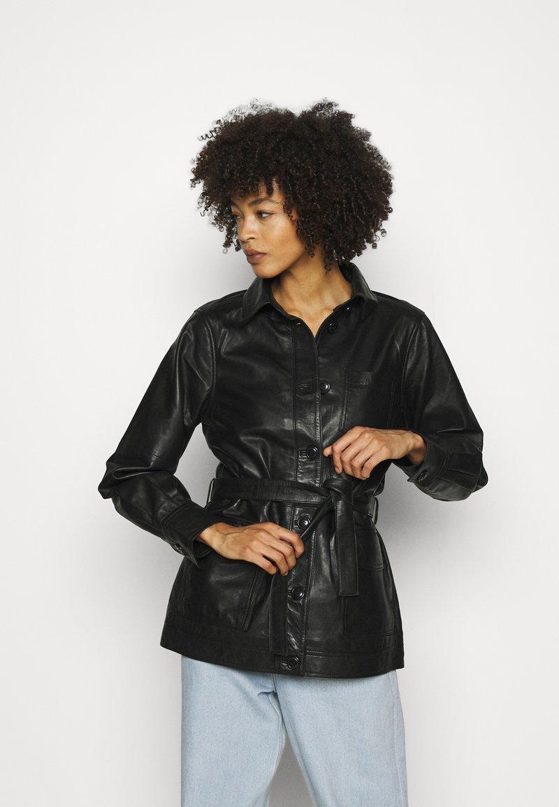 Part Two - HURI - Leather jacket - black