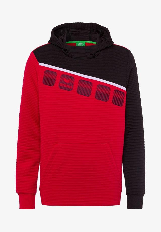 Hoodie - rot / schwarz / weiß