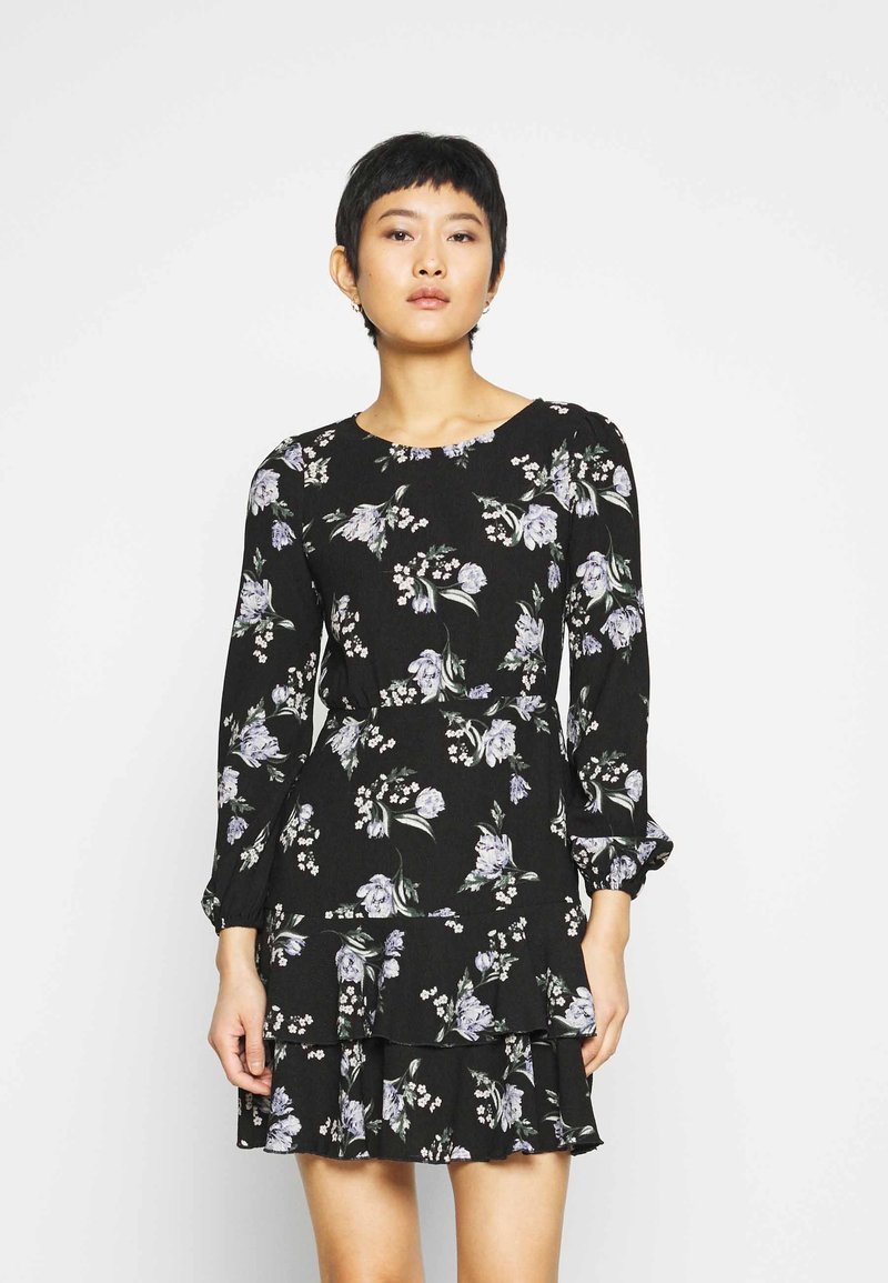 Dorothy Perkins - TIERED SKIRT MINI FLORAL - Jerseykjole - black