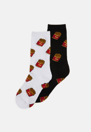 FRENCH FRIES SOCKS 2 PACK UNISEX - Skarpety - black/white