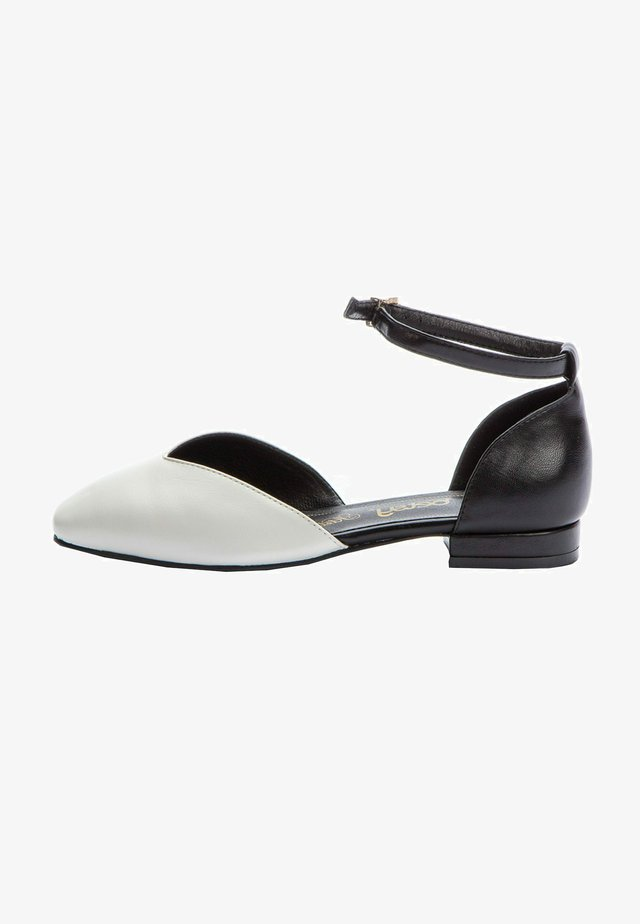 Ankle strap ballet pumps - white  black