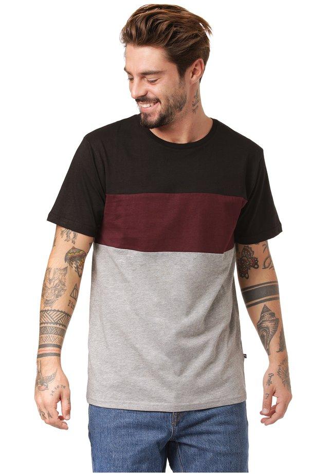 ANUI - Print T-shirt - black/ cabernet / mid grey heather