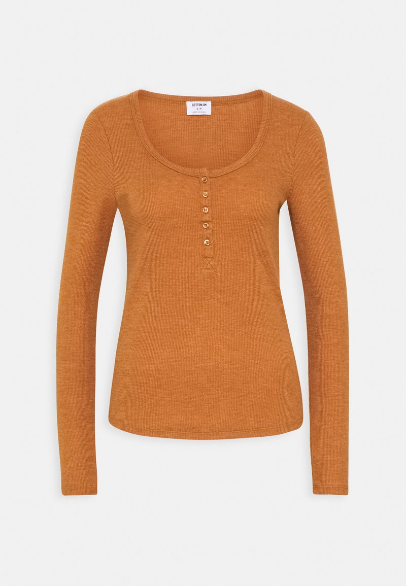 Cotton On - WINNIE WAFFLE SCOOP HENLEY LONG SLEEVE  - Long sleeved top - rust