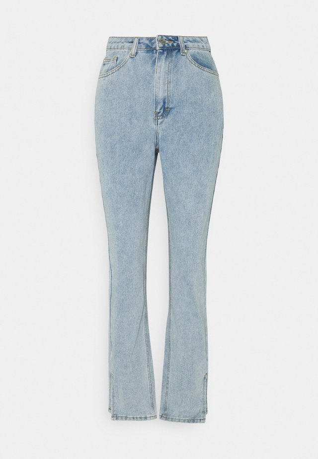 SIDE SPLIT HEM MOM - Straight leg jeans - blue